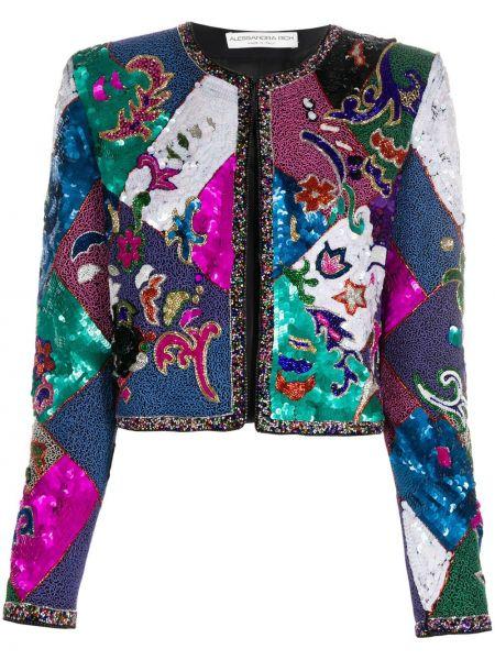 Прямая синяя длинная куртка с длинными рукавами Alessandra Rich