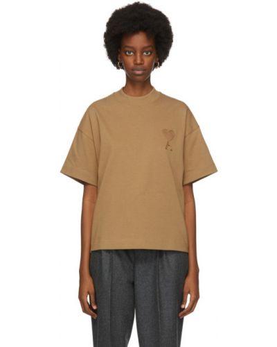 Коричневая рубашка с коротким рукавом с воротником с вышивкой из верблюжьей шерсти Ami Alexandre Mattiussi