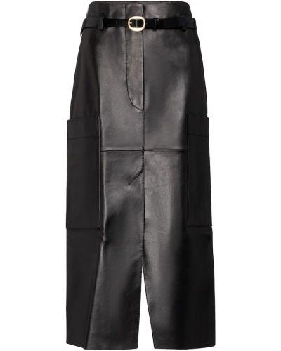 Черная кожаная юбка карандаш с поясом Petar Petrov