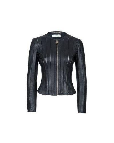 Кожаная куртка черная нейлоновая Versace Collection