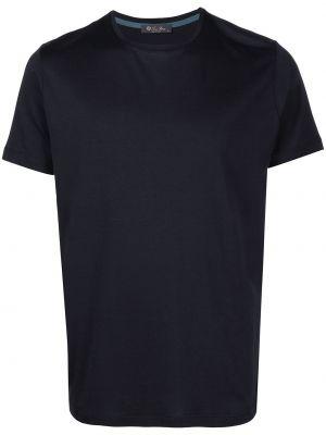 Шелковая синяя рубашка с короткими рукавами Loro Piana