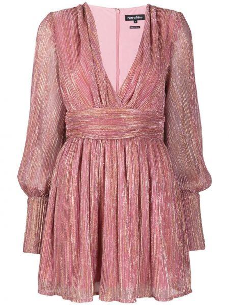 Różowy sukienka mini z długimi rękawami z dekoltem w szpic metal Retrofete