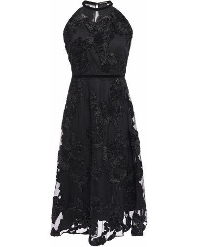 Czarna sukienka tiulowa z haftem Elie Tahari