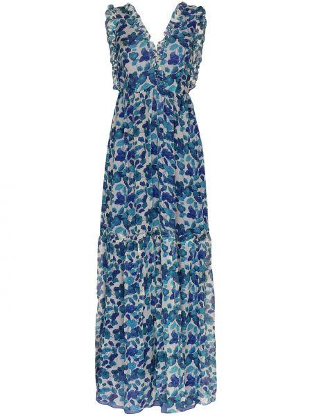 Платье макси с цветочным принтом с V-образным вырезом Adriana Degreas
