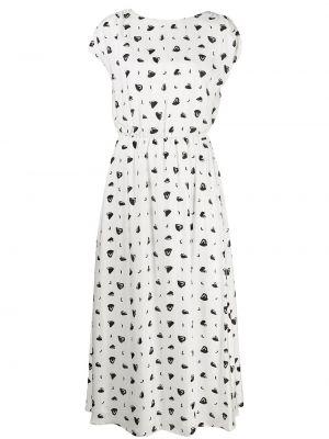 С рукавами белое платье миди из вискозы Armani Exchange