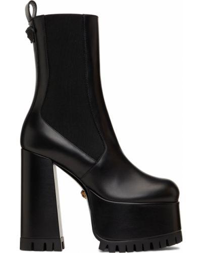 Ботинки челси на платформе - черные Versace
