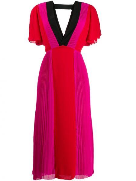 Плиссированное розовое платье миди на молнии Karl Lagerfeld