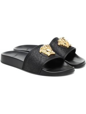 Резиновые шлепанцы - черные Versace