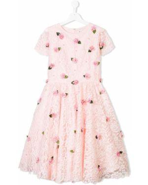 Розовое платье с рукавами с вырезом круглое с аппликациями Lesy