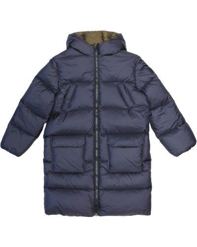 Niebieski puchaty płaszcz z kapturem Il Gufo
