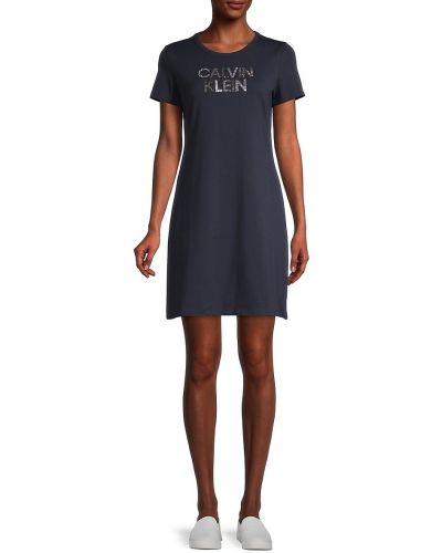 Синее купальное платье с короткими рукавами стрейч Calvin Klein
