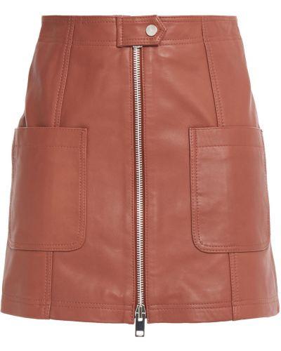 Кожаная юбка мини с карманами с заплатками Walter Baker