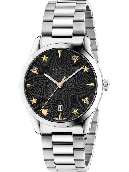 Классические черные кварцевые часы Gucci