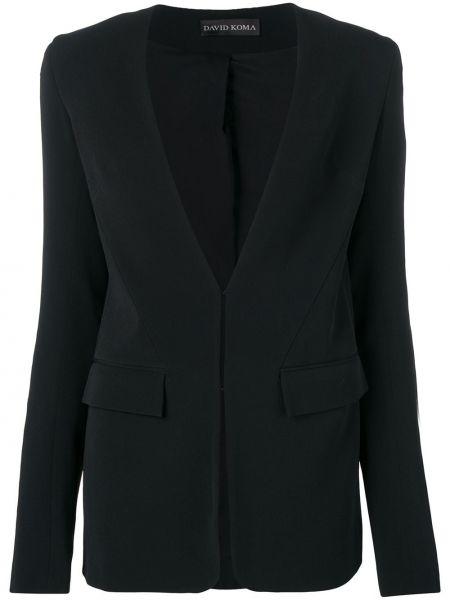 Черный пиджак с карманами с пайетками David Koma