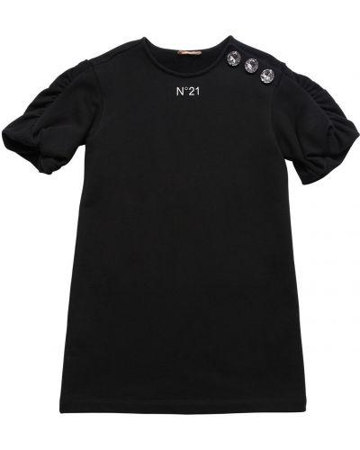 Хлопковое черное платье с короткими рукавами N°21
