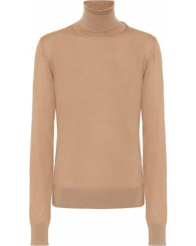 Бежевый кашемировый вязаный свитер Dolce & Gabbana