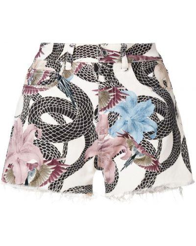 Джинсовые шорты с цветочным принтом с карманами Marcelo Burlon. County Of Milan