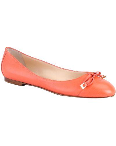 Кожаные балетки - оранжевые Santoni