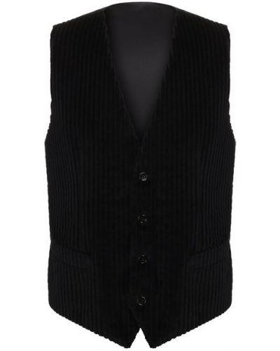 Черная жилетка с подкладкой с V-образным вырезом Dolce & Gabbana