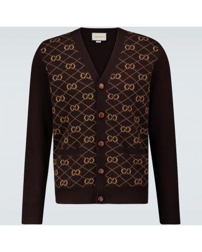 Коричневый шерстяной кардиган с V-образным вырезом на кнопках Gucci