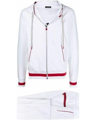 Biały dres bawełniany z kapturem Kiton