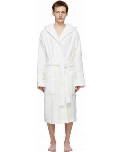 Biały długi szlafrok bawełniany z kapturem Tekla