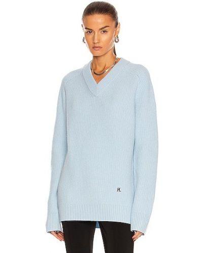 Sweter wełniany - niebieski Helmut Lang