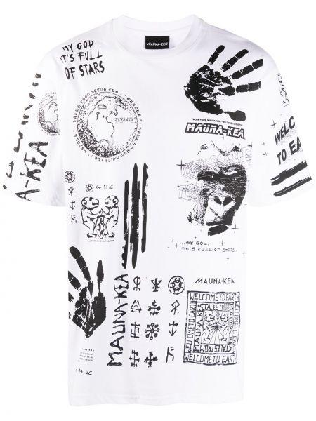 Хлопковая с рукавами белая прямая рубашка с коротким рукавом Mauna Kea