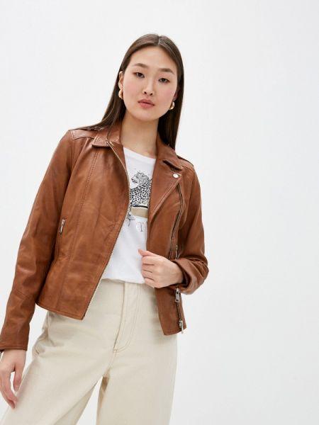 Кожаная коричневая кожаная куртка Oakwood