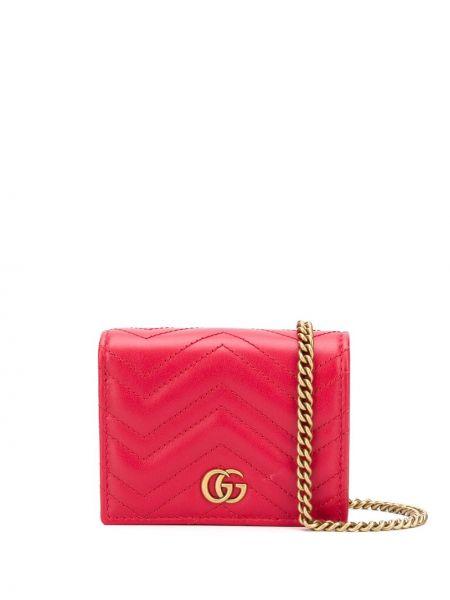 Skórzany portfel skórzany złoto z kieszeniami z gniazdem Gucci