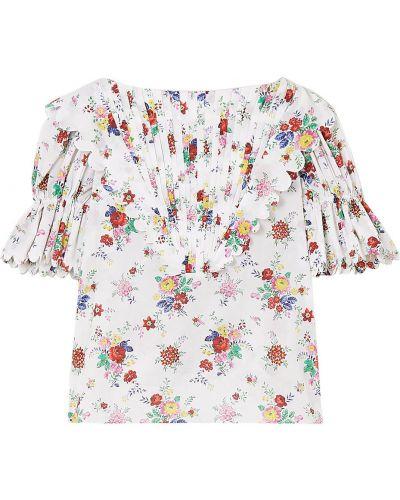 Biała bluzka bawełniana z printem Horror Vacui
