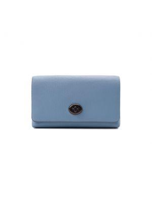 Кожаная синяя сумка Coach