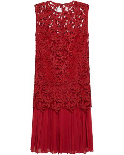 Гипюровое кружевное красное платье Oscar De La Renta