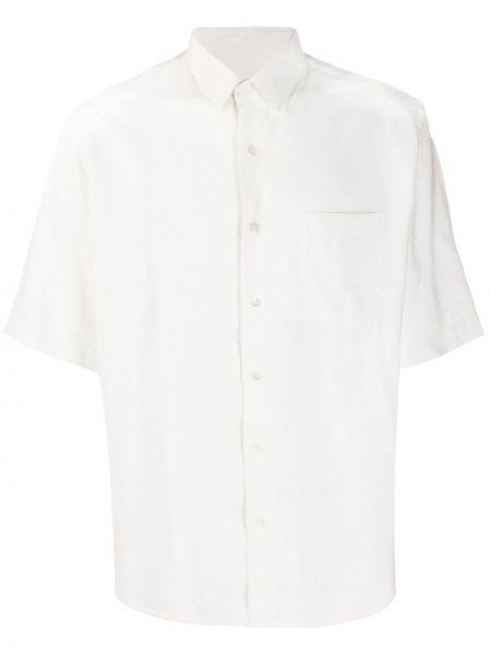 Biała klasyczna koszula krótki rękaw z wiskozy Ami
