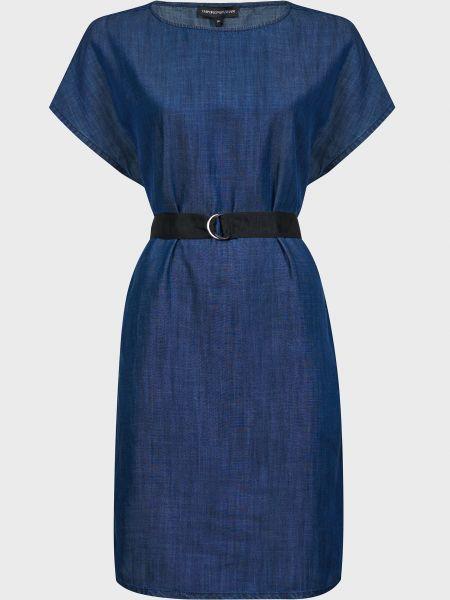 Синее платье с поясом Emporio Armani