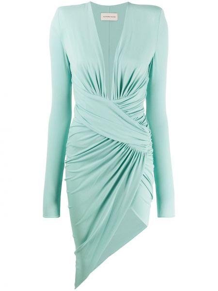 Zielona sukienka midi z falbanami asymetryczna Alexandre Vauthier