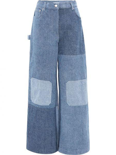 Широкие джинсы с завышенной талией - синие Jw Anderson