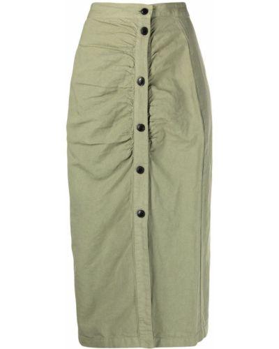 С завышенной талией зеленая юбка на пуговицах Masscob