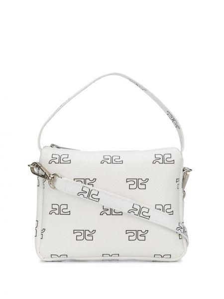 Biała torba na ramię bawełniana z printem Courreges