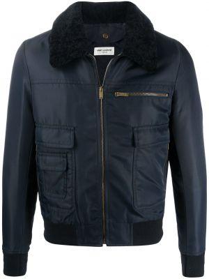 Кожаная куртка на молнии - синяя Saint Laurent