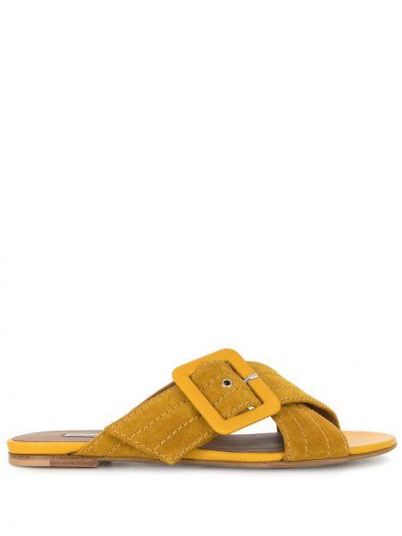 Żółte sandały skorzane na niskim obcasie Tabitha Simmons