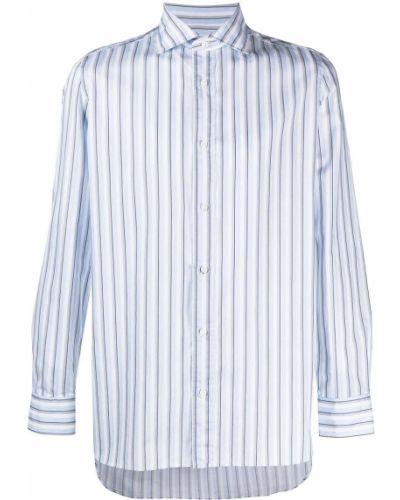 Niebieska koszula bawełniana z długimi rękawami Borrelli