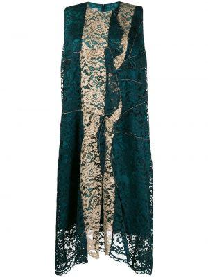 Zielona sukienka długa koronkowa asymetryczna Antonio Marras