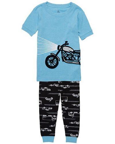 Niebieska piżama z koszulą bawełniana krótki rękaw Petit Lem