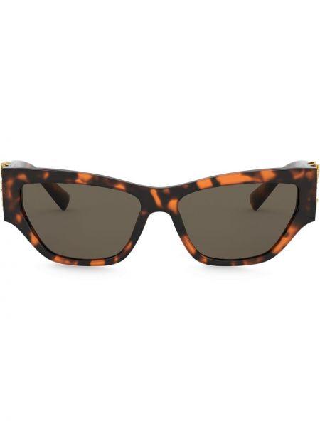 Золотистые желтые солнцезащитные очки прямоугольные металлические Versace Eyewear