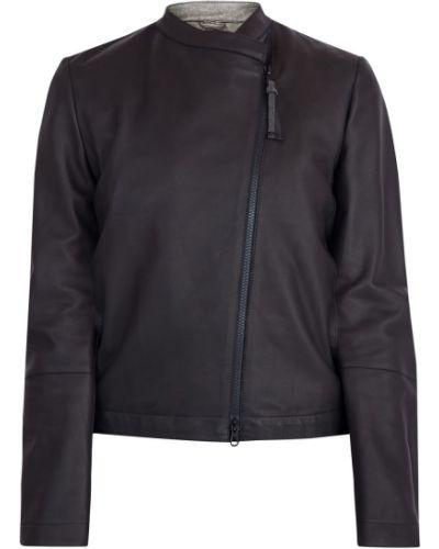 Кожаная куртка прямая на молнии Brunello Cucinelli