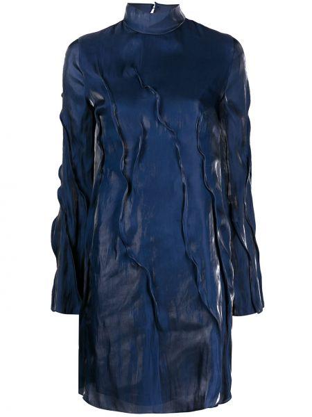 Восточное синее платье макси с воротником Kenzo