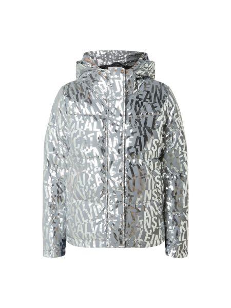 Srebro kurtka jeansowa metal z kieszeniami z zamkiem błyskawicznym Calvin Klein Jeans