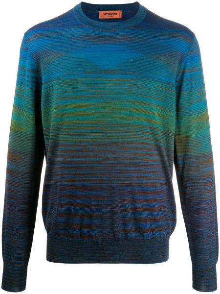 Wełniany z rękawami niebieski pulower z paskami Missoni