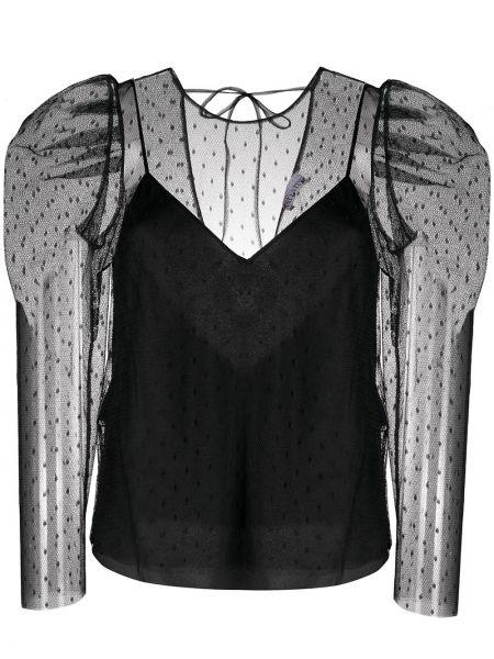 Черная блузка прозрачная в горошек Redvalentino
